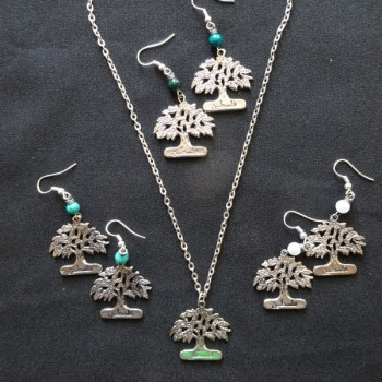 Olive Tree Earrings and Necklace