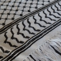Embroidered kufiyeh-patterned scarf, from Gaza (large black)
