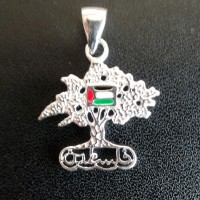 Sterling silver olive tree pendant