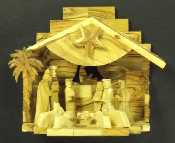 Musical Olivewood Nativity Scene